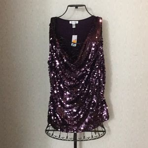 NWT Purple Sequin knit top, Size 3X